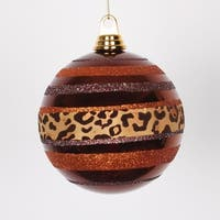 "Diva Safari Cheetah Print & Stripes Copper and Coffee Christmas Ball Ornament 5.5"" (140mm)"