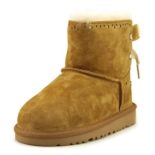 Ugg Australia Dixi Flora Youth Round Toe Suede Tan Winter Boot