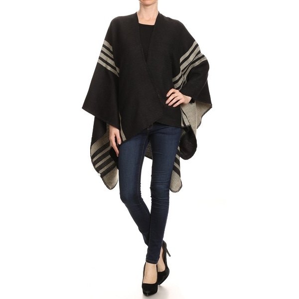 Womens Reversible Wool Blend Striped Winter Poncho