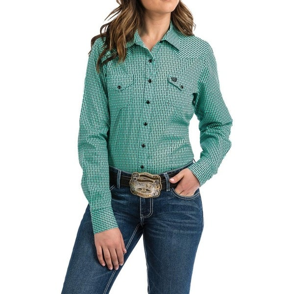 26cc559352 Shop Cinch Western Shirt Womens Long Sleeve Snap Plaid Turquoise ...