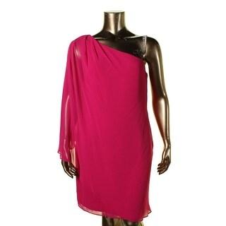 Lauren Ralph Lauren Womens Yessenia Cocktail Dress Pintuck Gathered