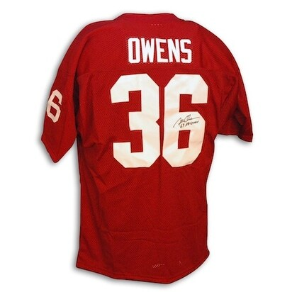 """Autographed Steve Owens Red Throwback OU Jersey with """"Heisman '69"""" Inscription"""