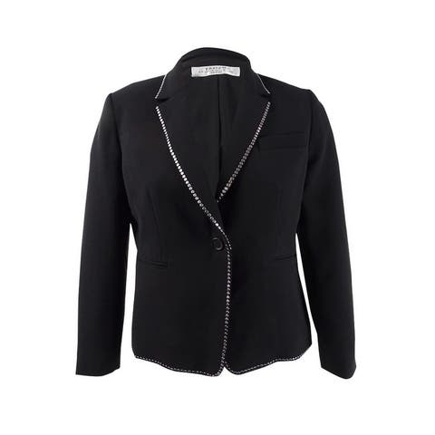 Tahari ASL Women's Studded One-Button Blazer - Black