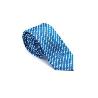 Versace Men Blue Striped Squares Pure Silk Medusa Ties - no size