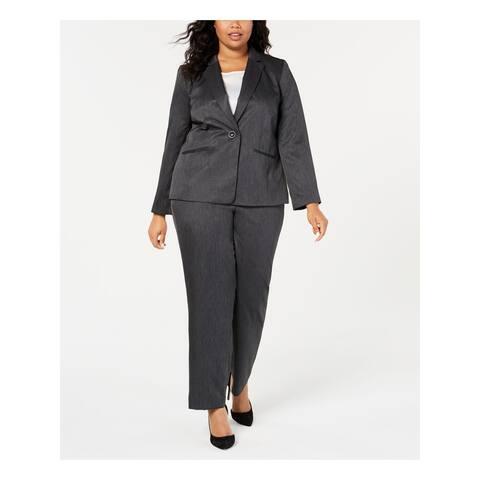 LE SUIT Gray Blazer Straight leg Pant Suit Size 16W