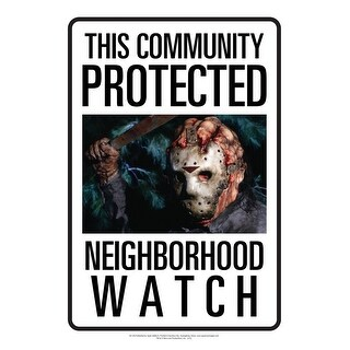Friday The 13th Jason Neighborhood Watch Tin Sign - Multi