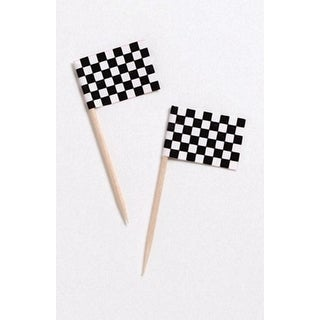 Club Pack of 1200 Black and White Checkered Flag Food, Drink or Decorative Party Picks 2.5""