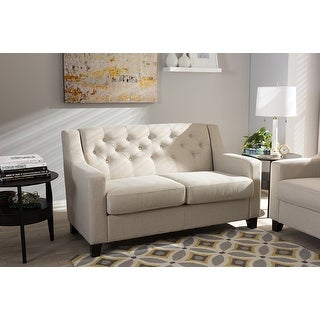 Baxton Studio Arcadia Modern and Contemporary Light Beige Fabric Upholstered Button-Tufted Living Room 2-Seater Loveseat