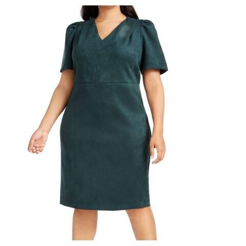 Calvin Klein Womens V-Neck Puff Sleeve Green Size 22W Plus Sheath Dress