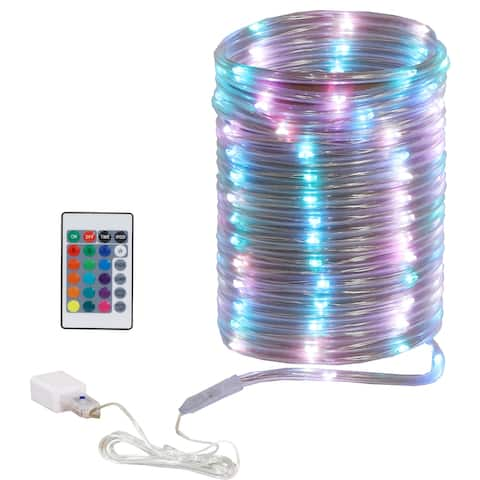 Sunnydaze Indoor LED Rope Light with Remote Control - 32.8'