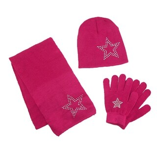 CTM® Girls' Stud Accent Hat Glove and Scarf Winter Set