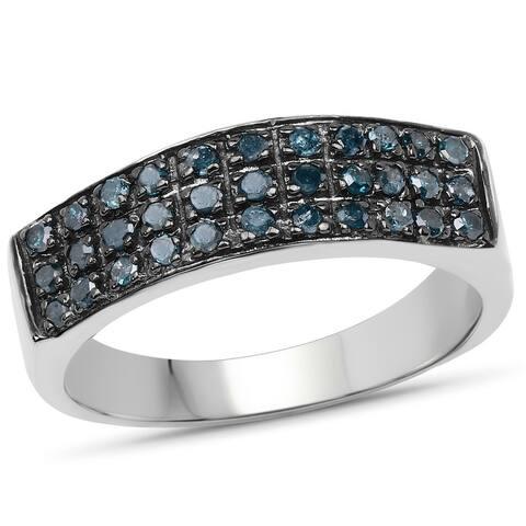 Malaika .925 Sterling Silver 0.35 Carat Genuine Blue Diamond Ring