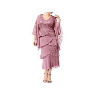 SLNY Womens Plus Dress With Jacket Sequined Tea-Length - 14W