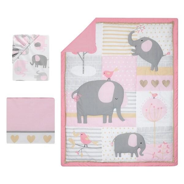Bedtime Originals Eloise Gray//Pink//Gold Elephant Nursery Wall Decals
