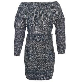 Dollhouse Little Girls Navy Melange Fringe Overlay Belted Knit Dress