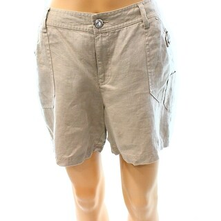 INC NEW Beige Frappe Women's Size 2 Linen Jewel-Button Seamed Shorts