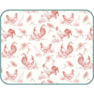 Farm Nostalgia Roosters and Chickens Microfiber Kitchen Countertop Drying Mat
