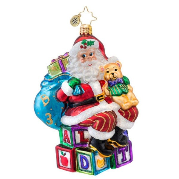 Christopher Radko Glass ABC Santa Claus Christmas Ornament #1017048