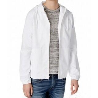 American Rag NEW White Mens Size Large L Hooded Windbreaker Jacket