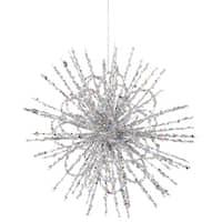 "8"" Silver Glitter Flower Blossom Sequined Christmas Ornament"
