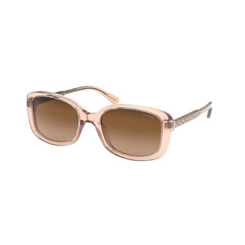 Coach HC8278 556174 53 Transparent Champagne Woman Rectangle Sunglasses - Pink