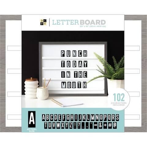 """Dcwv Sliding Letterboard 20""""X16""""-Grey Oak W/Black Tiles"""