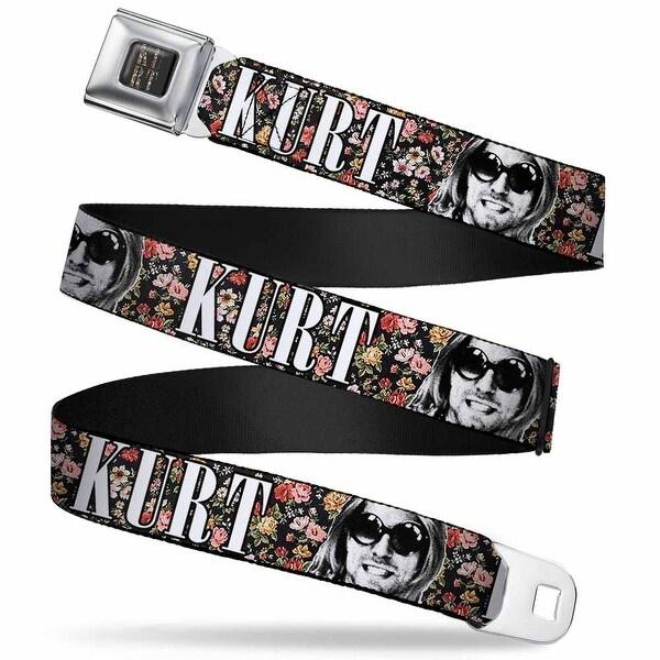 Kurt Floral Full Color Black Kurt Cobain Text Face Black Floral White Seatbelt Belt
