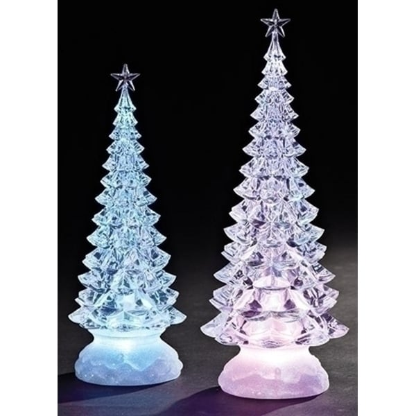 Set of 2 Icy Crystal Illuminated Christmas Pine Tree with Star Figures 12.5""