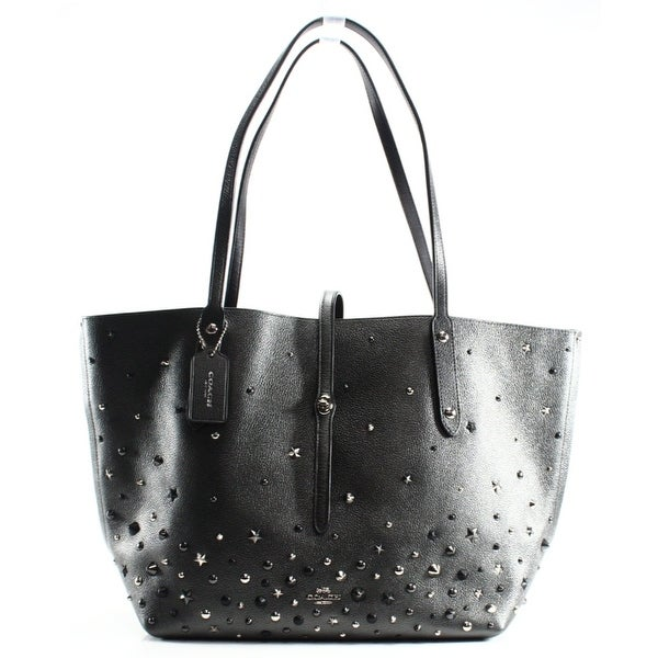 c5cc61496266d Shop Coach NEW Gray Graphite Metallic Leather Star Market Tote Bag ...