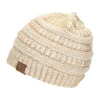 Gravity Threads CC Knit Soft Stretch Beanie Cap, GOLD/IVORY