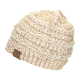 Gravity Threads CC Knit Soft Stretch Beanie Cap, GOLD/IVORY