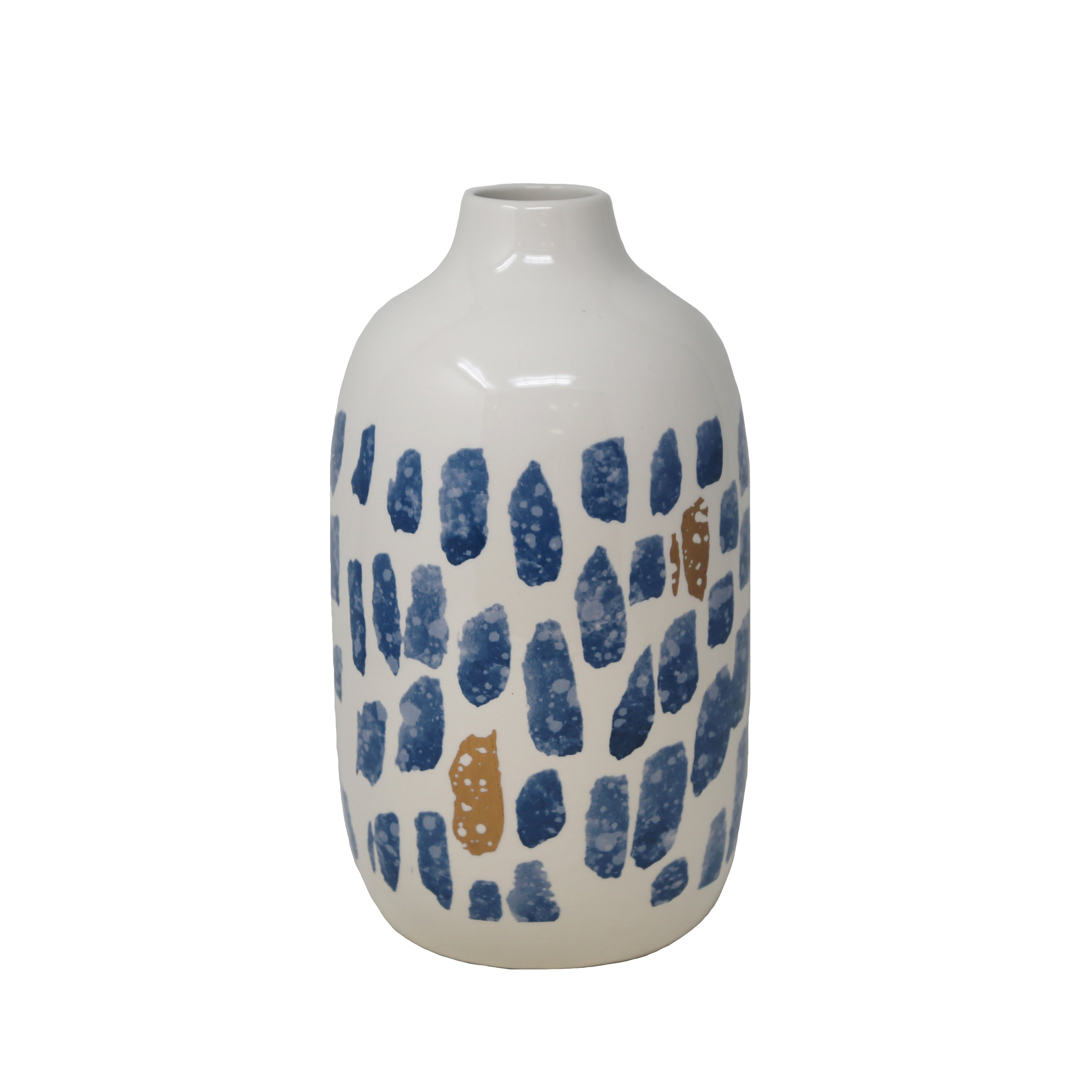 Ceramic  Bottle Shape Vase with Small Open Mouth and Wide Circular Bottom, White and Blue