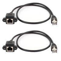 Unique Bargains 2pcs 60cm 2ft Ethernet Male to Female Network Cable RJ45 Extension Extender Cord