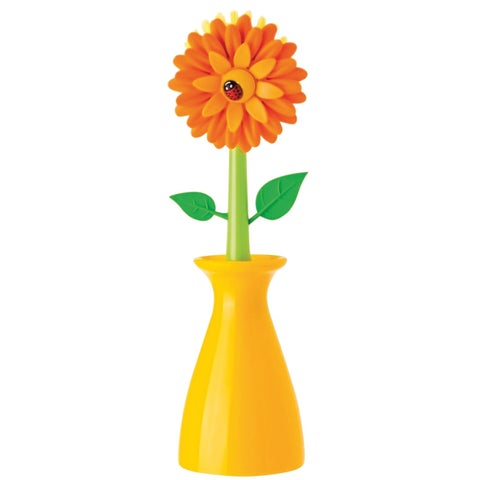 Vigar America Flower Power Nylon Dish Brush - Floral Shaped Kitchen Cleaning Tool with Yellow Vase Holder - Non-Scratch - 10 in.