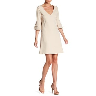 The Vanity Room NEW Beige Womens Small S V-Neck Ruffle A-Line Dress