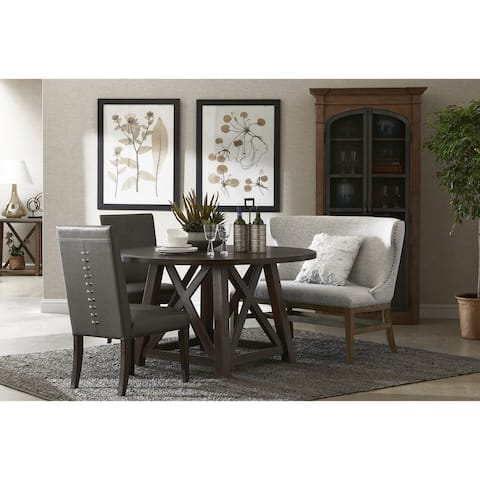 Round Dark Oak Dining Table with X-cross Sides