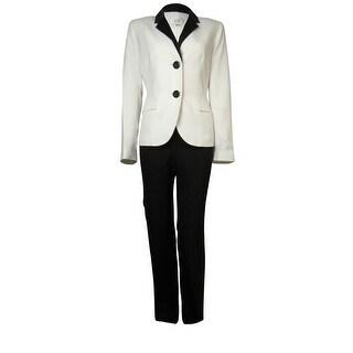Le Suit Women's Crepe Satin Trim Bordeaux Pant Suit