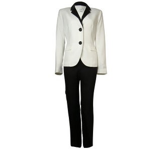 Le Suit Women's Crepe Satin Trim Bordeaux Pant Suit - vanilla ice/black