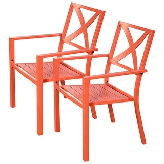 Costway 2 Pcs Orange Outdoor Patio Chair Slat Seat Furniture Porch Garden With Armrest