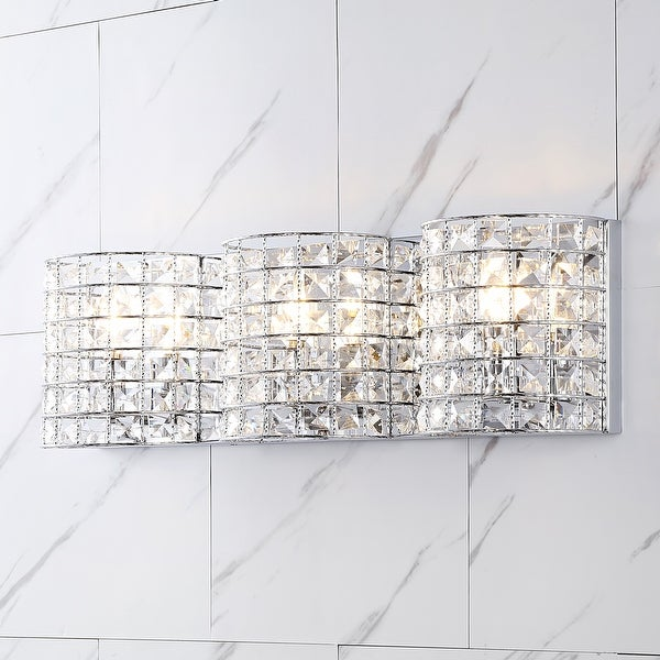 Clara Deco Metal/Crystal Glam LED Vanity Light, Chrome by JONATHAN Y. Opens flyout.