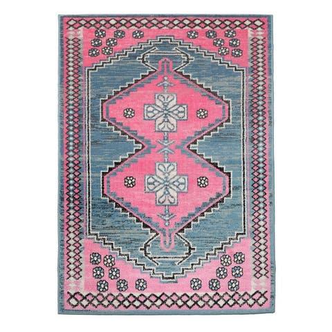 LoomBloom Persian Polypropylene Gigi Traditional Oriental Area Rug Pink, Aqua Color