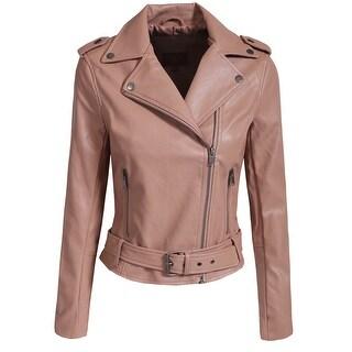 NE PEOPLE Women's Fitted Faux Leather Strap Band Waist Jacket [NEWJ99]