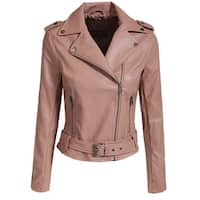 NE PEOPLE Women's Fitted Faux Leather Strap Band Waist Jacket [NEWJ99]
