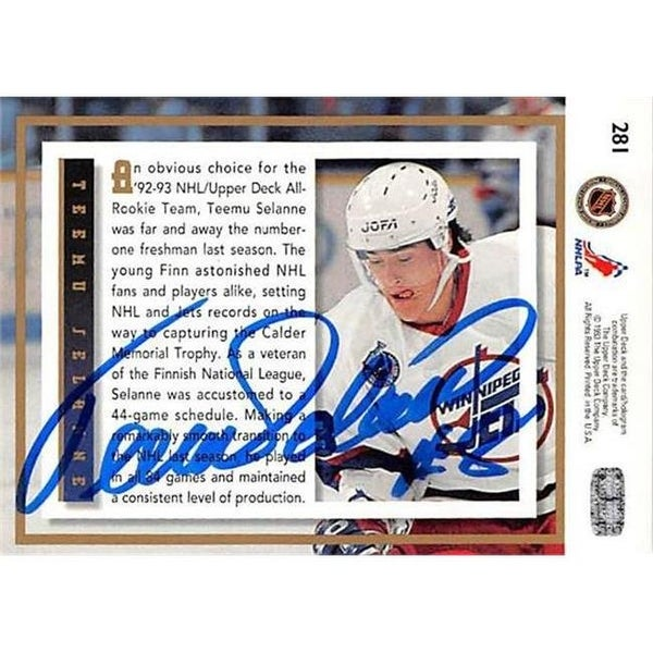 quality design aa261 eaced Teemu Selanne Autographed Hockey Card - 1993 Upper Deck-281 All