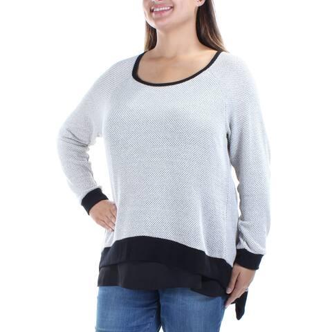 BAR III Womens Gray Long Sleeve Jewel Neck Tiered Sweater Plus Size: 2X