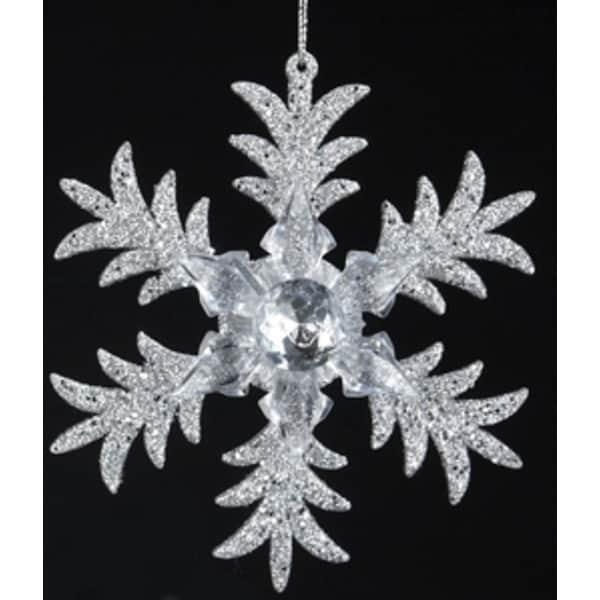 "5"" Seasons of Elegance Six Point Silver Glittered Snowflake Christmas Ornament"
