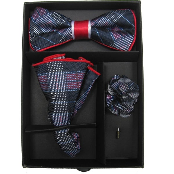 ca84ec7f06cd Shop Men's Blue And Red Plaid Bow Tie with matching Hanky and Lapel Flower  - One size - Free Shipping On Orders Over $45 - Overstock - 16204325