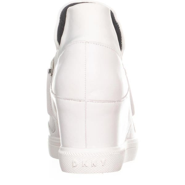 a88297384208 ... White DKNY Cosmos Slip On High Top Wedge Sneakers