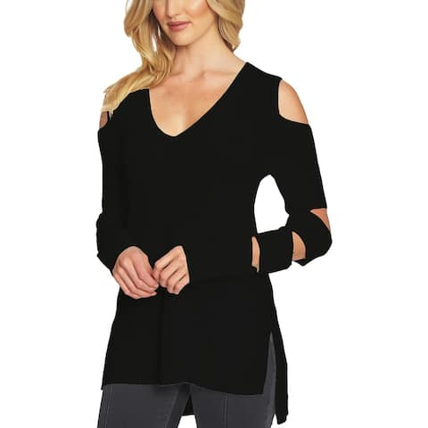 1.State Womens Pullover Sweater Cold-Shoulder Hi-Low