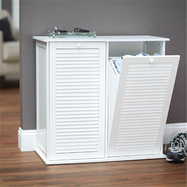 Tilt Out Cabinet Laundry Sorter With Shutter Front White Free Shipping Today 22564543